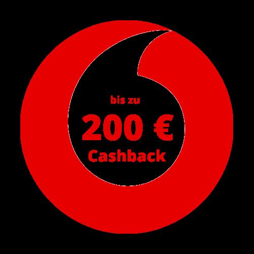 Vodafone Logo mit Hinweis auf 215 Euro Cashback