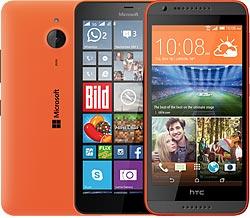 Handys in orange in der Übersicht
