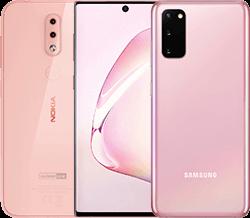 Handys in pink in der Übersicht