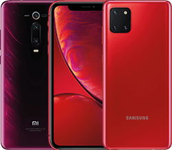 Handys in rot in der Übersicht