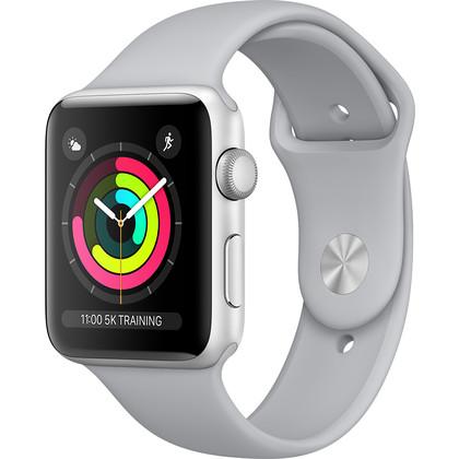 Apple Watch 42 mm Series 3 Aluminiumgehäuse silber mit Sportarmband nebel