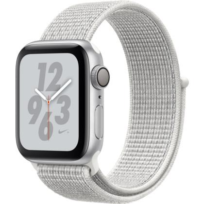 Apple Watch Nike+ 40 mm Series 4 Aluminiumgehäuse silber mit Nike Sport Loop summit white