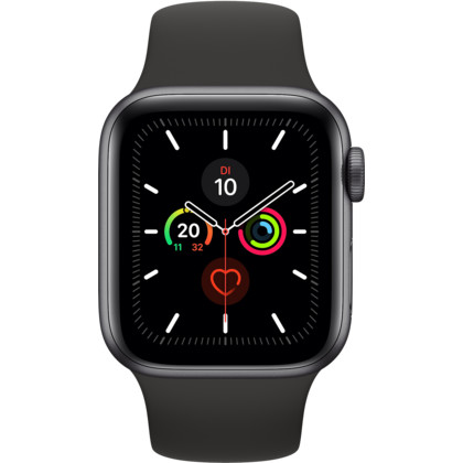 Apple Watch Series 5 40 mm Aluminiumgehäuse Space Grau, Sportarmband schwarz